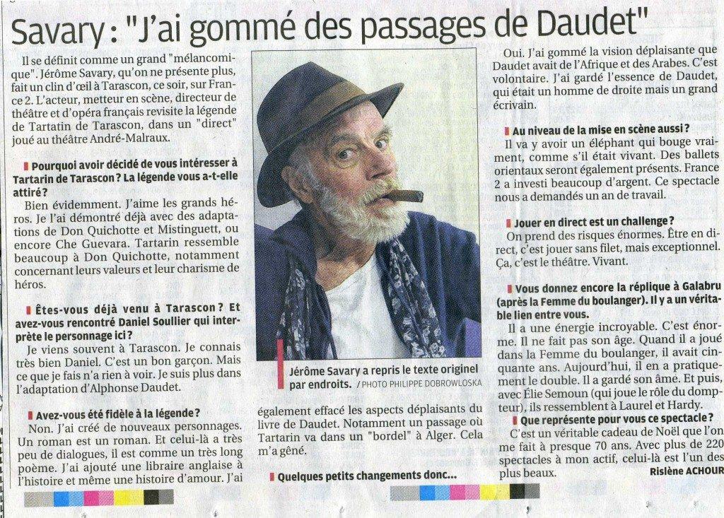Savary, chouchou des médias et du système censure des passages de Tartarin de Tarascon d'Alphonse Daudet afin de rendre le personnage politiquement correct ! dans culture savary-tartarin003