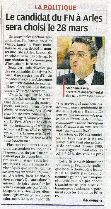 Arles : Le Front National présentera une liste pour les élections municipales dans france arles001