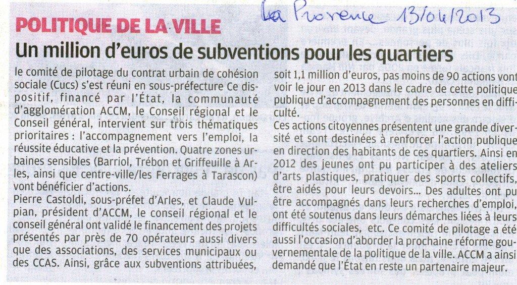 Politique de la ville - Arles -Tarascon : Un million d'euros de subventions pour les quartiers sensibles. dans Critique 13-avril-la-provence001