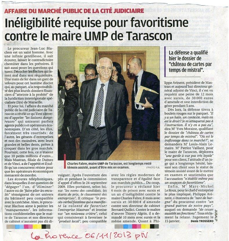 6 mois de prison avec sursis et un an d'inéligibilité requis contre Charles Fabre le maire UMP de Tarascon. dans Critique fabre-proces001