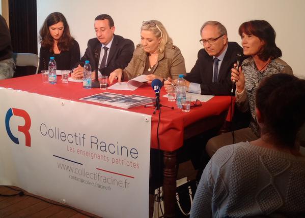 Sur cette photo tweetée par un compte de soutien à Marine Le Pen, on peut voir la présidente FN avec à sa gauche Daniel Philippot et à sa droite Alain Avello, le président du collectif au niveau national. Au micro, Valérie Laupies, vice-présidente :