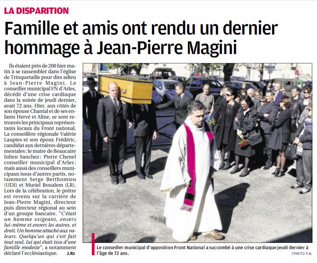 Obsèques de JP Magini